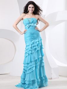 Ruche Bodice and Beading Ruffled Layers for Grad Dress with Bow
