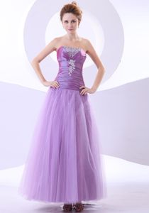 Beading and Appliques with Pleating Ankle-length 2013 Grad Dress