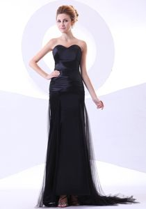 Sweetheart Column Black Grad Dress Made in Tulle and Taffeta