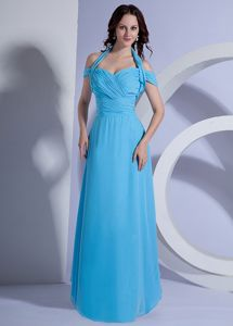 Halter and off Shoulder for Ruching Bodice Grad Dress in Aqua Blue