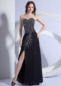 Beading Bodice High Slit Black Sweetheart Grad Dress in Louisiana