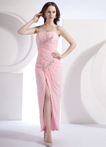 Beading and Ruching Ankle-length Pink Graduation Dress in Column