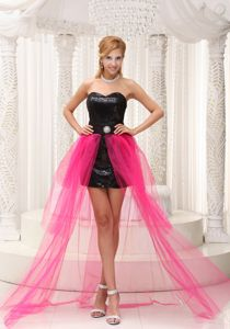 Iowa Hot Pink and Black High-low Graduation Dress Made in Paillette