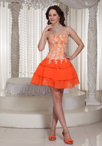 Appliques Orange Lace-up Prom / Cocktail Dress With Mini-length