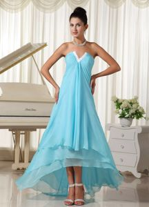 Natural Waist and High-low for 2013 V Neck Grad Dress in Baby Blue