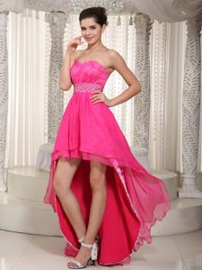 Hot Pink Sweetheart High-low and Lace Beading Graduation Dress