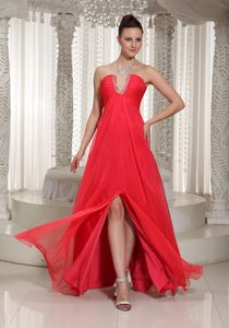 High Slit and Beading V Neck for Coral Red Long Graduation Dress