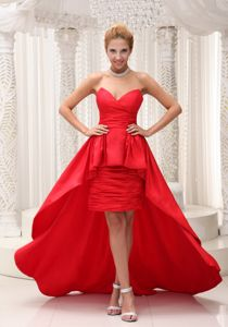 Taffeta and Chiffon Red High-low Graduation Dress with Sweetheart