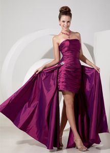 Taffeta Purple Column Cute Graduation Dresses with Appliques 2014