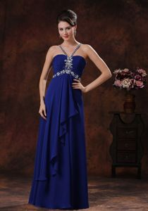 V-neck Beaded Royal Blue College Graduation Dress in Tillicoultry