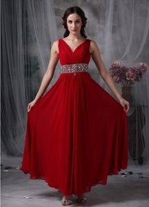 Chiffon Red V-neck Empire 5th Grade Graduation Dress with Beading