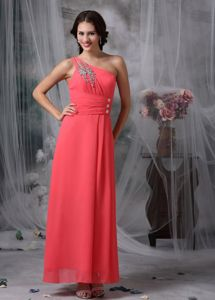 One Shoulder Ankle-length Coral Red Beaded Dresses for Graduation