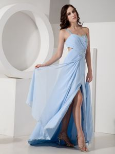 One Shoulder Chiffon Light Blue Graduation Dress Beaded with Slit