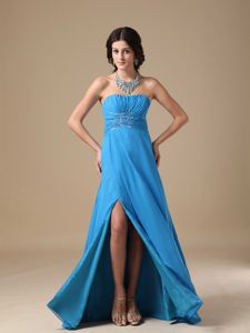 Pretty Sky Blue Ruched Strapless Prom Dress for Graduation with High Slit