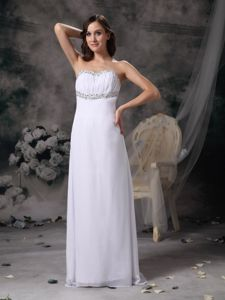 Modest White Strapless Beaded Full-length College Grad Dress with Ruche