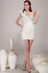 New White Ruffled One Shoulder Ruched Short Graduation Dress in Austin