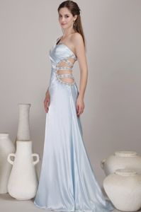 Backless Light Blue One Shoulder Long College Grad Dress with Beading