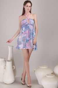 Multi-color Halter Mini-length Graduation Dress with Printing and Keyhole