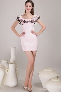 Lovely Baby Pink Square Short College Grad Dresses with Ruffles and Slit