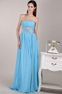 New Strapless Aqua Blue Beaded Full-length University Graduation Dress