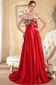 Pretty Beaded Sweetheart Court Grad Dress for High School with Bowknot