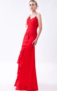 Gorgeous Red Beaded Long College Grad Dresses with Straps and Ruffles