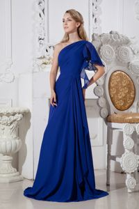 Special Single Shoulder Royal Blue Brush College Grad Dresses with Ruche