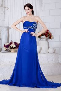Perfect Royal Blue Sweetheart Brush College Grad Dresses with Appliques
