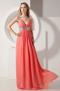 Watermelon Red Ruched V-neck Long University Grad Dress with Cutout
