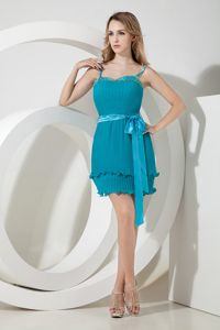 Pleated Teal Short Prom Graduation Dresses with Spaghetti Straps and Sash