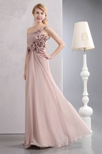 Cute Light Pink One Shoulder Long Formal Graduation Dress with Flower