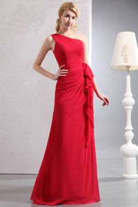 Luxurious Red One Shoulder Floor-length Pageant Grad Dress with Ruche