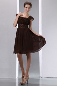 Square Low Back Cap Sleeves Brown University Graduation Dress in Dallas