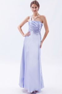 Elegant Lilac Ruched Ankle-length Formal Graduation Dress with Beading