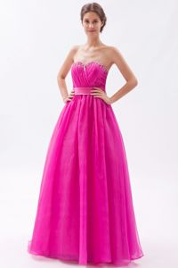 Simple Hot Pink Beaded Sweetheart Floor-length Formal Dresses for Grad