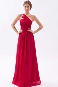Special One Shoulder Red Long College Grad Dress with Ruche in El Paso