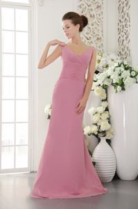Rose Pink V-neck Low Back Sweep Train Prom Dresses for Grad in Bryan