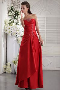 Pretty Red Strapless Ankle-length Prom Dress for Graduation with Beading