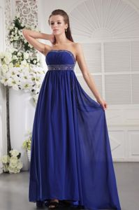 Royal Blue Beaded Strapless Brush Train Formal Graduation Dress in Dallas