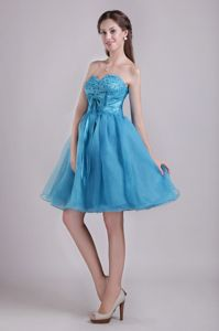 Hot Sale Teal Beaded Sweetheart Short High School Grad Dresses with Bow