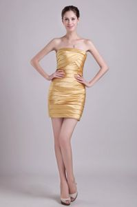 Brand New Strapless Gold Mini-length Graduation Ceremony Dress in Erie
