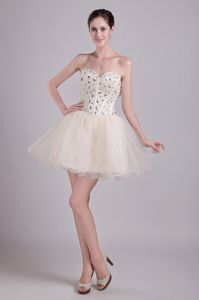 Lovely Champagne Beaded Sweetheart Short Middle School Grad Dresses