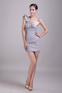 Unique One Shoulder Grey Mini-length College Grad Dresses with Beading
