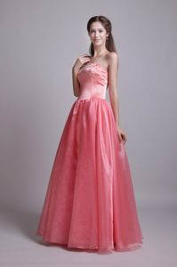 Watermelon Sweetheart Floor-length University Grad Dresses with Beading