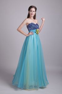 Low-Back Aqua Blue Long College Grad Dresses with Sequins and Flower