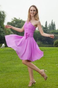 Pretty Ruched Single Shoulder Lavender Knee-length Pageant Grad Dress