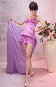 Lovely Strapless Lavender Short Grad Dresses with Flowers and Beading