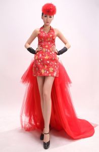 Luxurious Red Halter High-low Graduation Dresses with Appliques in Austin