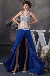 Sexy Beaded Halter High Slit Evening Dress for Graduation in Royal Blue
