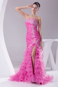 Hot Pink High Slit College Grad Dress with Ruffles and Appliques in Denton